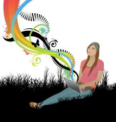 girl spring vector image vector image