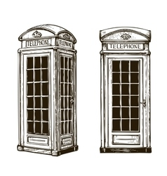 Hand drawn London phone booth Sketch vector image vector image