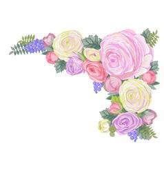 Horizontal card with gentle ranunculus flowers vector