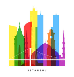 istanbul landmarks bright collage vector image