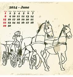 June 2014 hand drawn horse calendar vector image vector image