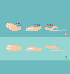 wrong and right ways for hand position in use vector image vector image