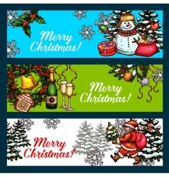 Christmas Day New Year festive banner set vector image