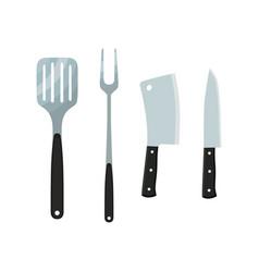Cutlery - cleaver spatula fork knife vector