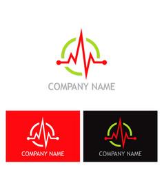 pulse heart beat health logo vector image