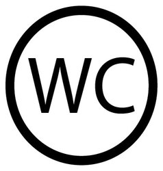 WC toilet icon black white vector image vector image