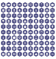 100 company icons hexagon purple vector