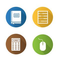 accounting flat design long shadow glyph icons set vector image
