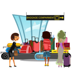 Airport conveyor belt with passengers take luggage vector