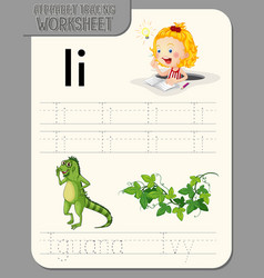 Alphabet tracing worksheet with letter and vector