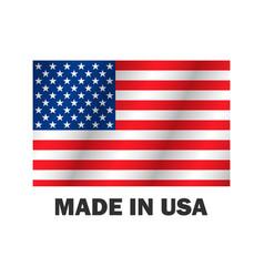 american flag made usa stylish design vector image