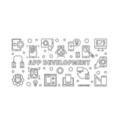app development concept banner in thin line vector image