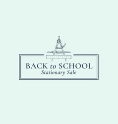back to school stationary sale sign symbol vector image