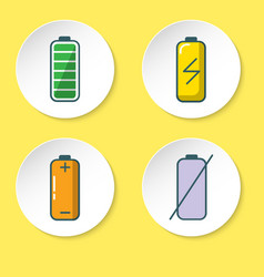 battery icon set in flat style on round button vector image