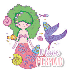 Beauty mermaid woman with shells and fishes vector