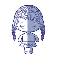 Blue shading silhouette of kawaii little girl with vector
