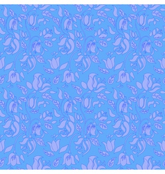 Blue tulip and rose floral textile seamless vector image vector image