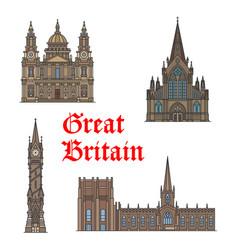 british travel landmark architecture icon set vector image