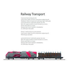 Brochure locomotive with railway platform vector
