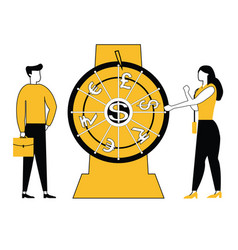 business people spinning wheel vector image