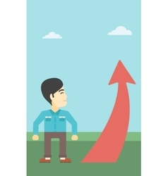 Businessman looking at arrow going up vector