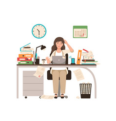 busy female office worker or clerk sitting at desk vector image