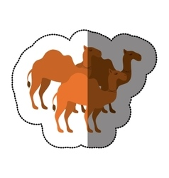 Camels animal cartoon silhouette concept vector