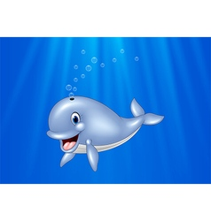 Cartoon whale swimming in the ocean vector