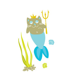 cat princess mermaid funny kitty vector image
