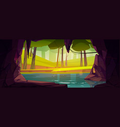 Cave in rock with lake and forest outside vector