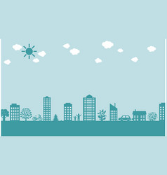 City border isolated green background vector