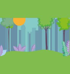 cityscape town urban nature trees grass sun vector image