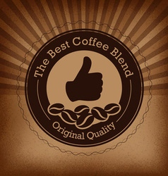 Coffee label over sunburst vintage background vector image