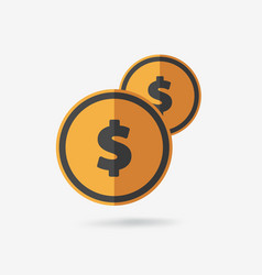 coins icon with dollar sign vector image