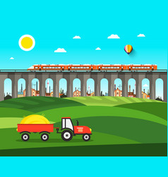 countryside nature landscape with tractor bridge vector image