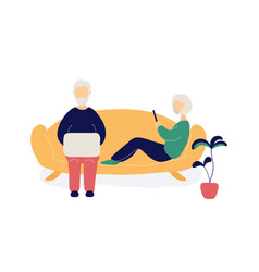 couple old people with laptop and phone vector image