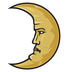 Crescent moon face vector