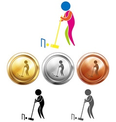 Croquet icon and sport medals vector