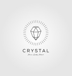 crystal gems logo jewelry line art monoline icon vector image