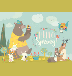 cute animals meeting spring in forest vector image