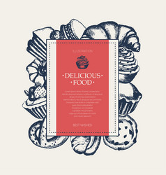 delicious food - monochromatic hand drawn square vector image