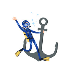 Diver holding onto large old anchor underwater vector