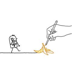 Drawing hand and cartoon businessman - banana peel vector
