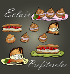 Eclairs profiteroles and cakes on background vector