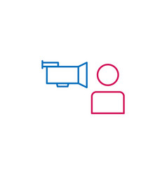 Elections interview camera man outline colored vector