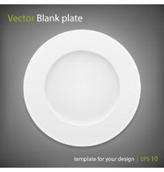 Empty white plate on grey bakcground EPS10 vector