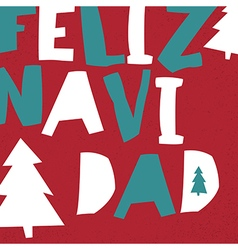 Feliz Navidad Merry Christmas card template in vector
