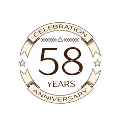 fifty eight years anniversary celebration logo vector image