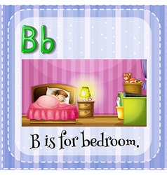 Flashcard letter b is for bedroom vector