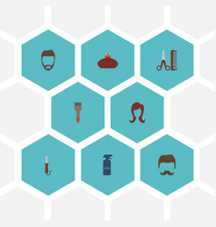 flat icons moustache perfume female and other vector image